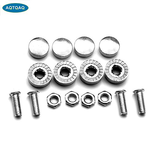 1 Set Chrome Anti-theft Screws Car License Plate Bolts Frame Screws