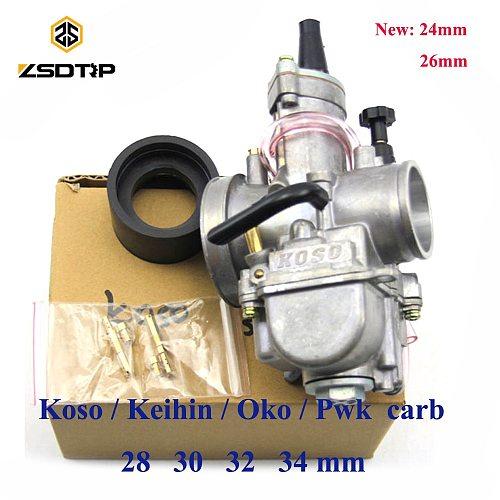 ZSDTRP Motorcycle For keihin koso pwk carburetor Carburador 21 24 26 28 30 32 34 mm with power jet fit on racing motor