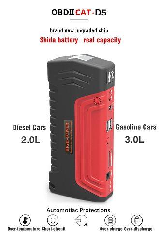 OBDIICAT-D5 Car Jump Starter 12V 600A Portable Starter Power Bank Petrol Starting Device Car Charger For Car Battery Booster