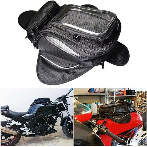Black Motorcycle Tank Bag Motorbike Oil fuel Tank Bag Magnetic Waterproof Saddlebag