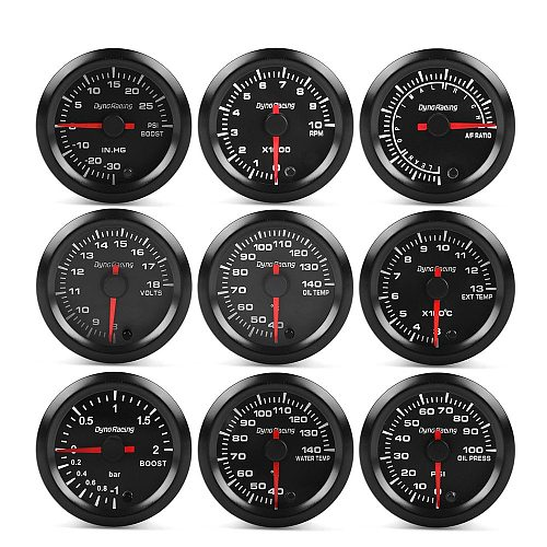Dynoracing 2  52mm  7 Colors boost gauge bar psi EGT EXT water temp oil temp oil press Air fuel ratio gauge voltmeter tachometer