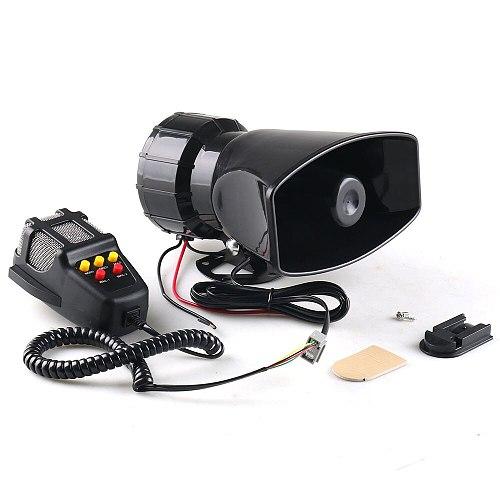 12V 80W 5-Sound Loud Car Warning Alarm Police Fire Siren 130dB Air Horn PA Speaker Car Accessories Car Warning Alarm