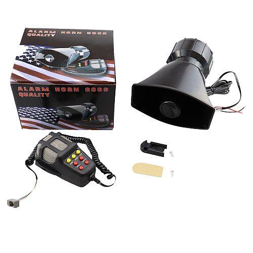 Car Horn with MIC Loud Motorcycle Siren Vehicle Truck Warning Alarm Loudspeaker Plastic Police Firemen 5 Sound DC 12V 100W