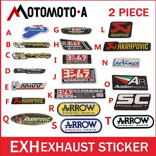 2Pcs Aluminium Heat-resistant Motorcycle Exhaust Pipes Decal Sticker Cool Personality Yoshimura Universal Stickers CB400 YZF
