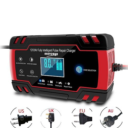 Car Battery Charger 12/24V 8A/4A Touch Screen Pulse Repair LCD Battery Standard Charger For Car Motorcycle Lead Acid Battery