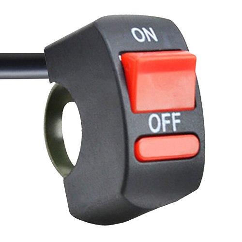 Universal Motorcycle Handlebar Flashing Switch Moto Light Switch ON OFF Button ATV Bike DC12V/10A Black Two Core Wire