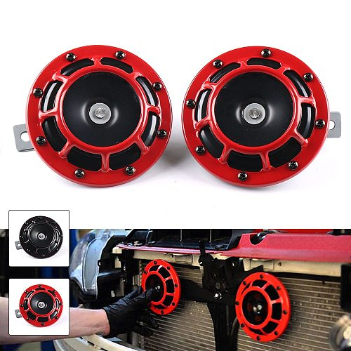 Red/Black Hella Super Loud Compact Electric Blast Tone Air Horn Kit 12V 115DB For Motorcycle Car 2pcs/set