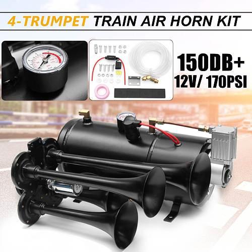 Truck Train Quad 4 Trumpet Air Horn Kit Black 170 PSI 12V 3Liters Compressor & House 150db