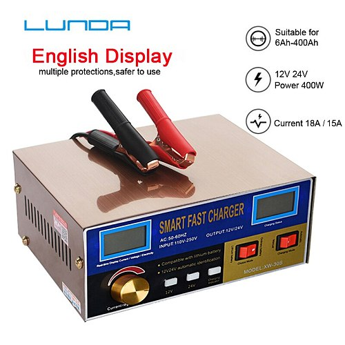English LCD 400W Lead Acid Lithium Battery Charger for 12V 24V Car Motorcycle Truck Auto Motor Professional Power Charging