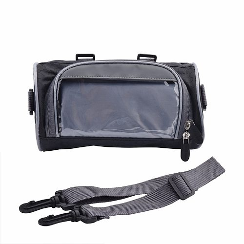 2.5L Windshield Bag Motorcycle Front Handlebar Fork Storage Bag Container Fabric Waterproof Bicycle Front Frame Bag Black