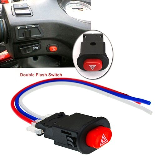 New Motorcycle Switch Hazard Light Switch Button Double Flash Warning Emergency Lamp Signal Flasher Motorcycle Parts Accessories