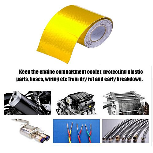 Exhaust Tape Heat Wrap Gold Thermal Air Intake Insulation Shield Reflective Heat Barrier Self Adhesive Engine 2 Inch 5/9/10M