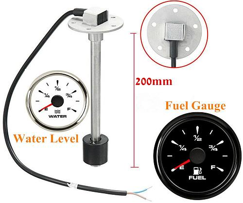 Hot Sale 52mm 0-180ohm Fuel Level Gauge 200 250 300 350 450mm Water Level Sensors 240-30ohm 8 Kinds Backlight for Car Boat Yacht