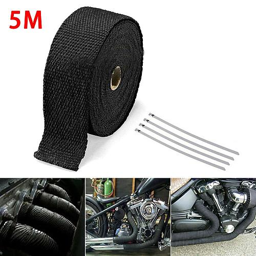 5M Roll Fiberglass Heat Shield Motorcycle Exhaust Header Pipe Heat Wrap Tape Thermal Protection+ 4 Ties Kit Exhaust Pipe Insulat
