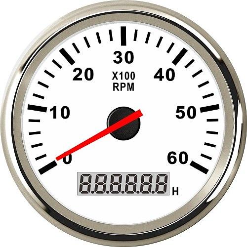 85mm Car Boat Tacho Sensor Marine Tacho Meter with LCD Hourmeter 3000 4000 6000 8000 RPM  Boat Tachometer 12V/24V Red Backlight