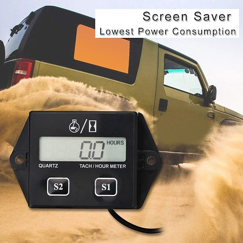 Digital Engine Tachometer Tach Hour Meter Digital Tachometer Gauge Inductive Rpm Meter Motorcycle LCD Display For Motor Car Boat