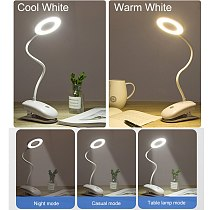 USB Rechargeable Led Desk Lamp Flexible Touch Dimming Table Lamp Clip On Lamp For Book Bed and Computer 3 Color Modes ZZD0019