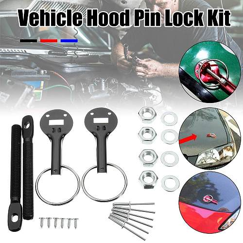 Black/Red/Blue Universal Alloy Racing Car Vehicle Bonnet Hood Fasten Pin Pins Lock Latch Mount Kit For Honda For Ford For BMW