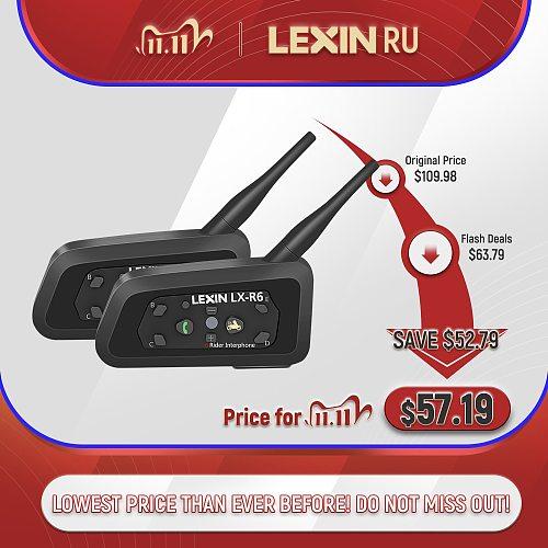 Lexin R6 Bluetooth Helmet  Headsets Motorcycle Intercom  for 6 Riders 1200M Wireless BT intercomunicadores de casco moto