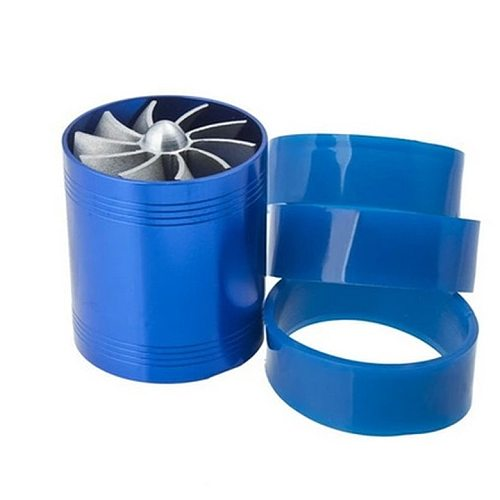 Free Shipping F1-Z Double Turbine Turbo Charger  Gas Fuel Saver Fan Car Supercharger VR-FSD11