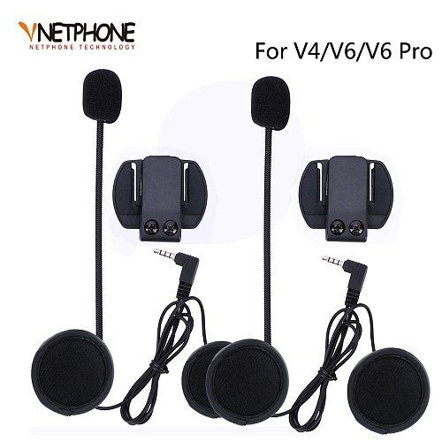 2PCS 3.5MM EJEAS V6 V6 Pro Accessories Earphone Speaker Microphone Clip Motorcycle Helmet Bluetooth Intercom Moto