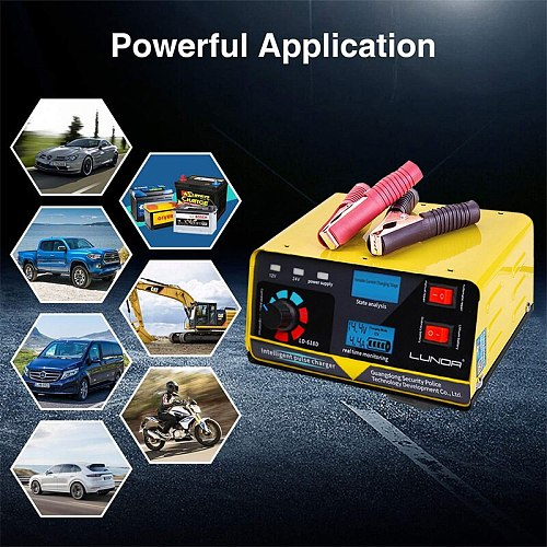 400AH Full Automatic Car Battery Charger Intelligent Pulse Repair universal lithium battery 12V/24V Truck Motorcycle Charger