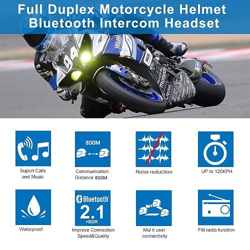 FreedConn TCOM-SC BT Interphone Motorcycle Helmet Intercom Wireless Bluetooth Headset Waterproof Intercom LCD FM