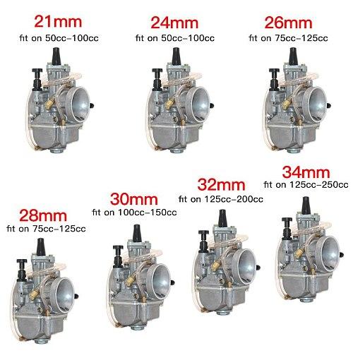Universal 2T 4TCarburetor Koso OKO Motorcycle Carburador PWK 21 24 26 28 30 32 34mm With Power Jet For Racing Moto