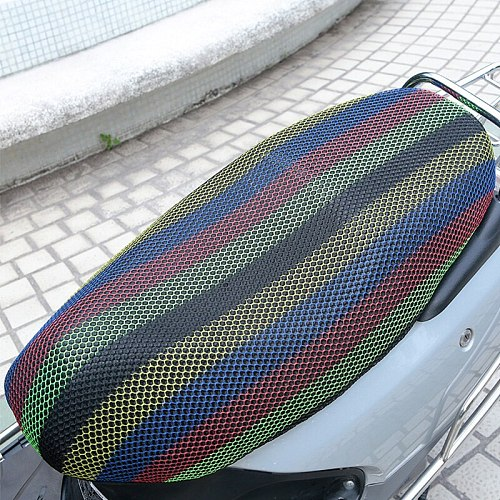 XXXL New black Breathable Summer 3D Mesh Motorcycle Seat Cover Sunscreen Anti-Slip Waterproof Cushion protect Net Cove