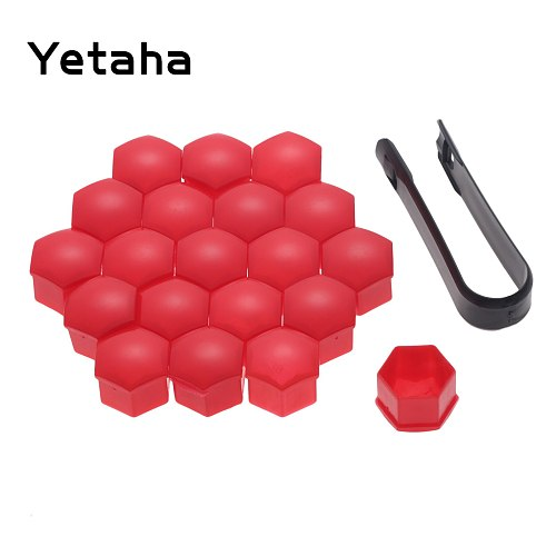 Yetaha 20Pcs Car Wheel Screw Covers 17 19 21mm Auto Tyre Nut Caps With Removal Tool Bolt Rims Special Socket Car Styling Black