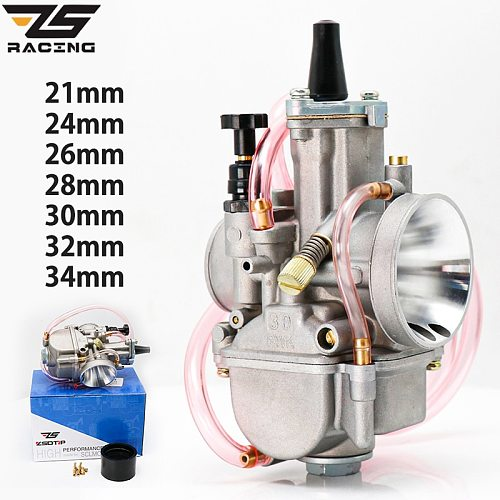 ZS Racing Universal For PWK 21 24 26 28 30 32 34 2T 4T For Keihin Koso PWK Carburetor With Power Jet For 75cc-250cc Moto