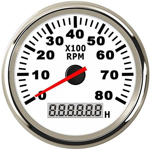 8K Boat Tachometer Marine Tacho Meter Gauge LCD Hourmeter 12V/24V 8000 RPM 85mm Car Tachometer Toerenteller