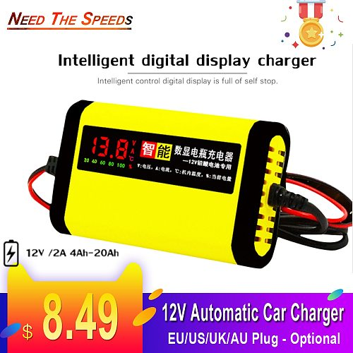Full Automatic Car Motorcycle Battery Charger 12V 2A Smart 3 Stages Lead Acid AGM GEL Intelligent LCD Display