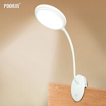USB Rechargeable Led Clamp Desk Lamp Gooseneck Touch Dimming Clip On Reading Light For Book Bed and Computer 3 Color Modes