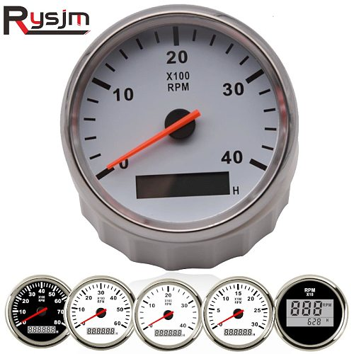 52mm/85mm Boat Tachometer Marine Car Tacho Meter LCD Digital red light 0-9990 RPM Lap timer Hour meter 12/24V With Red Backlight