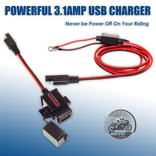 MOTOPOWER MP0609A 3.1Amp Waterproof Motorcycle USB Charger SAE to USB Adapter for phone and GPS charge on the road
