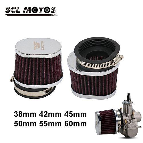 SCL MOTOS 38mm 42mm 45mm 50mm 55mm 60mm Motorcycle Air Filter Motorbike Air Pods Cleaner For Yamaha Kawasaki Suzuki Honda