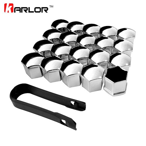 20Pcs Universal Anti-Rust 17 19 21mm Chrome Glossy ABS Auto Trim Tyre Wheel Nut Screw Bolt Protection Covers Caps Car Styling