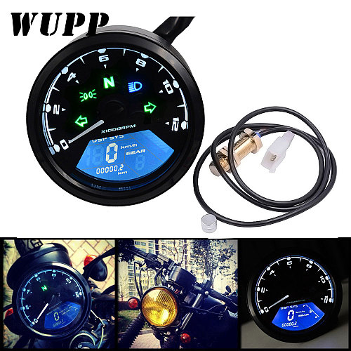 WUPP Motorcycle Speedometer LED digita Indicator light Tachometer Odometer ometer Oil Meter Multifunction With night vision dial
