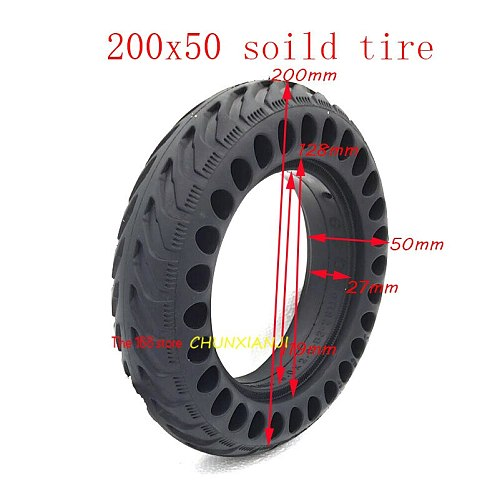 High Quality 200x50 Explosion-proof Electric Bike Scooter Tubeless Tyres  8 Inch Motorcycle Solid Wheel Tires Bee Hive Holes