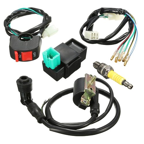 5pcs/set Wiring Loom Kill Switch Coil CDI Plug Kit 2Pin For 110cc 125cc 140cc Pit Bikeset Dirt Bike ATV