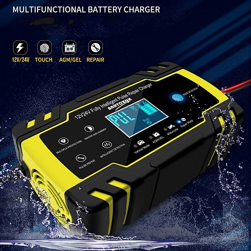 Automatic Smart Battery Charger 12V/8A 24V/4A Maintainer Car Motorcycle Scooter Deep Cycle AGM GEL VRLA LiFePo4 Battery Charger