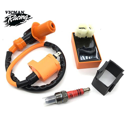 High Performance Motorcycle Racing 6pin CDI Ignition Coil  Spark Plug Set Fit for Gy6 150cc 125cc 50cc  Scooter Motorbike Parts