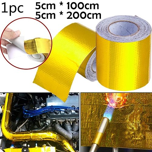Gold Car Thermal Exhaust Tape Air Intake Heat Insulation Shield Wrap Reflective Heat Barrier Self Adhesive Engine Universal 1/2M