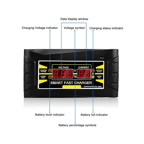 Full Automatic Car Battery Charger Charging 150V/250V To 12V 6A Smart Fast Power Charging + Acid Digital LCD Display EU US Plug