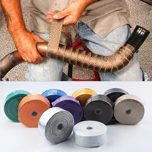 5M Roll Fiberglass Heat Shield Motorcycle Exhaust Header Pipe Heat Wrap Tape Thermal Protection Exhaust Pipe Insulation Tape