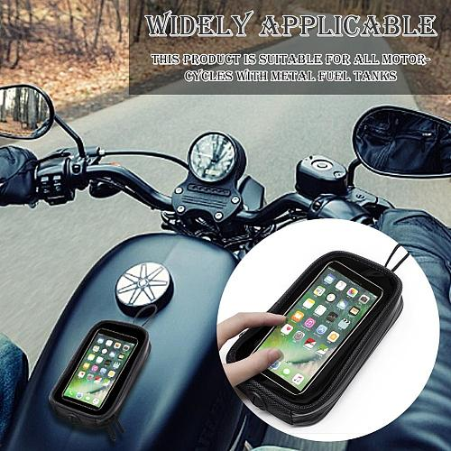 Motorcycle Tank Bag Waterproof Motorbike Oil Fuel Saddle Bag Magnetic Bag Phone Case for Smartphone Transparent Touch Screen