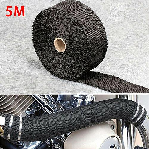5M Roll Fiberglass Heat Shield Motorcycle Exhaust Header Pipe Heat Wrap Tape Thermal Protection Exhaust Pipe Insulat
