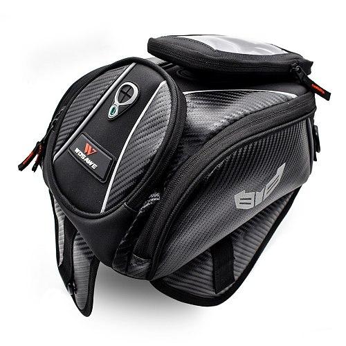 WOSAWE Motorcycle Fuel Tank Bags Mobile Phone Touch Screen Earphone Bag Motorbike Magnetic Bag Shoulder Bag for iPhone xiaomi