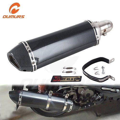 OUMURS Motorcycle ATV Exhaust Muffler Pipe 470mm Long Type For Akrapovic DB Killer Slip on Universal For Yamaha TMAX530 500 CBR